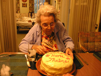Thelma with Welcome Home Cake