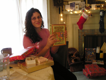 Christina opening her gifts